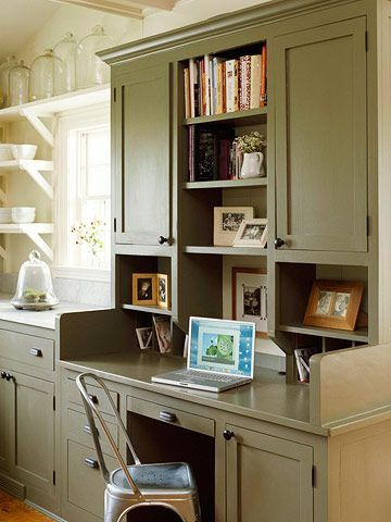 Small office area in the kitchen kitchen pinterest for Small office area