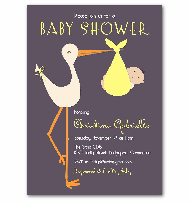 Baby Shower Invitation - Stylish Retro Stork - PRINTABLE DIY Digital ...