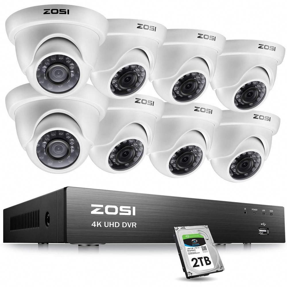 Zosi 8 Channel 4k 8mp 2tb Hard Drive Dvr Surveillance System With 8 Wired Dome Cameras Securityca Dome Camera Home Security Camera Systems Surveillance System