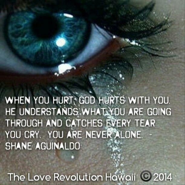 """""""When You Hurt, God Hurts With You.  He Understands What You Are Going Through And Catches Every Tear You Cry.  You Are Never Alone.""""  - Shane Aguinaldo"""