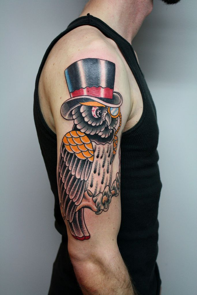 30 Awesome Traditional Owl Arm Tattoos Old School Tattoo Designs Owl Tattoo Design Owl Tattoo