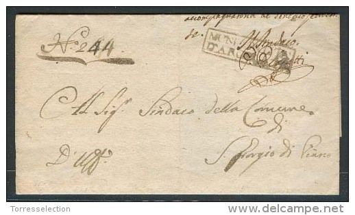 Italy - Prephilately. Cartas. 1811 (17 May). Argelata / Remo - S Giorgio di Pianzo. EL official mail, brown ink boxed...