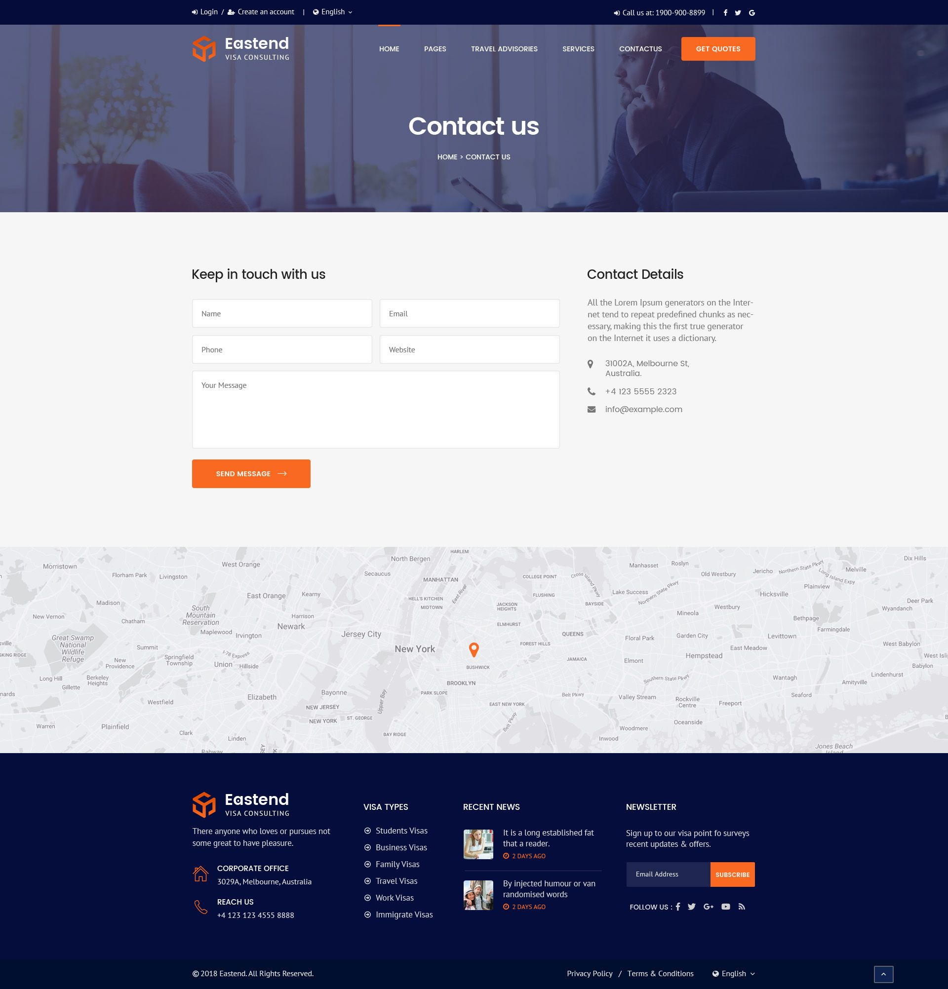 Eastend Visa Immigration Consulting Psd Template Contact Us Page Design Business Consulting Website Psd Templates
