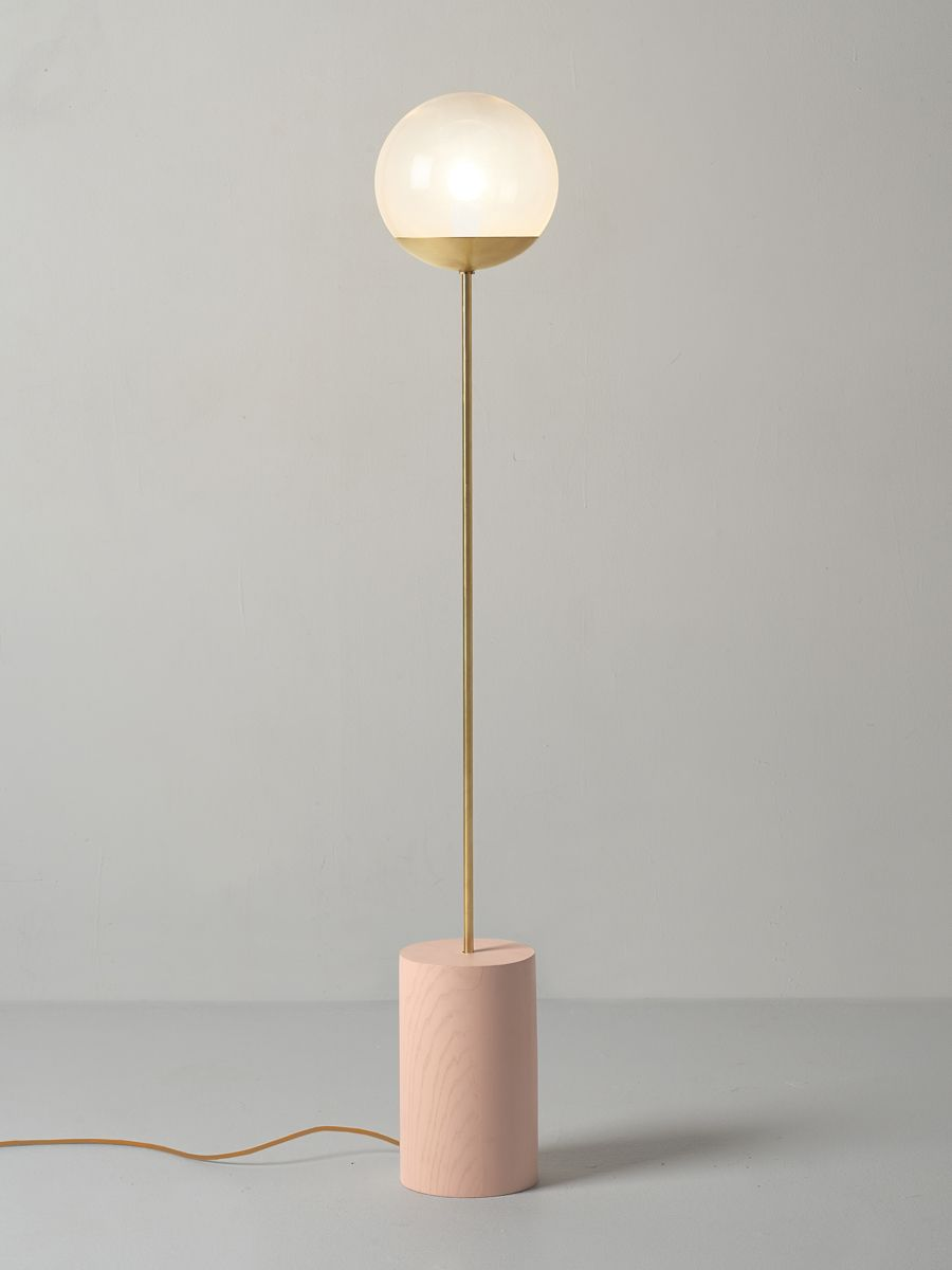 Modern, clean and streamline floor standing lamp with brass ...