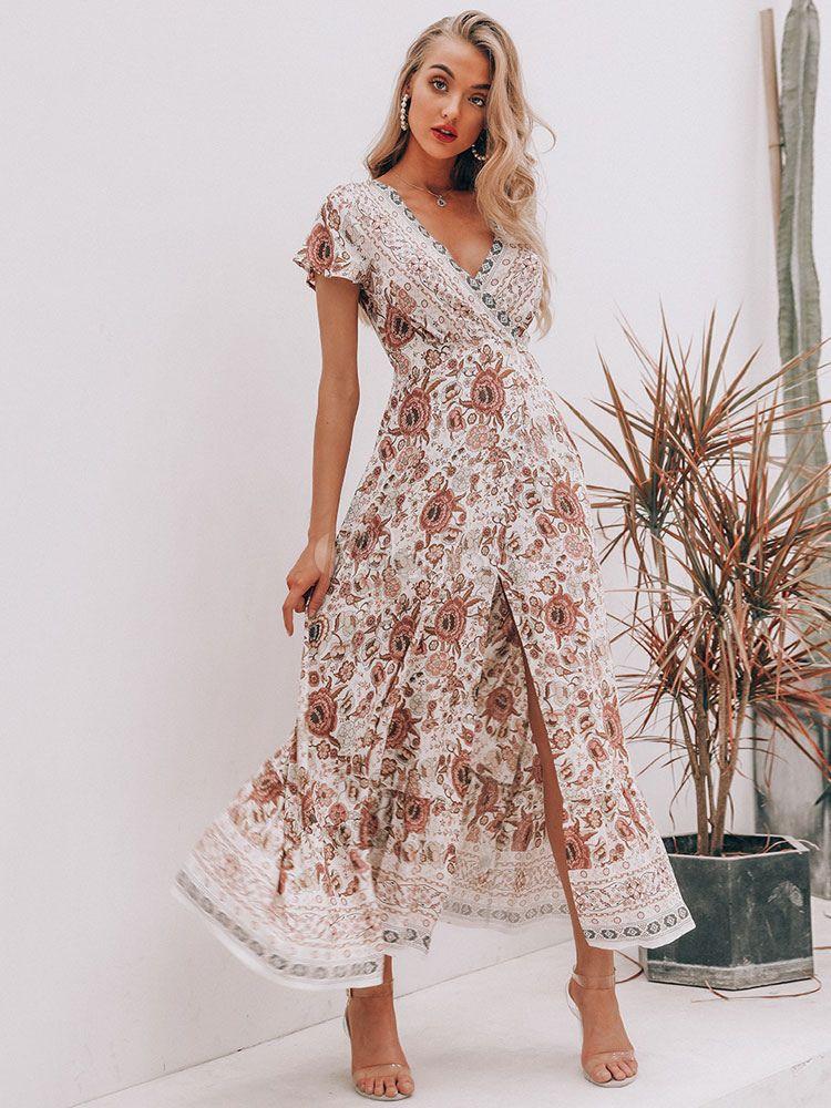 Floral Maxi Dress V Neck Summer Dress Short Sleeve Split Wrap Dress Boho Floral Maxi Dress Printed Summer Dresses Vintage Floral Print Dress