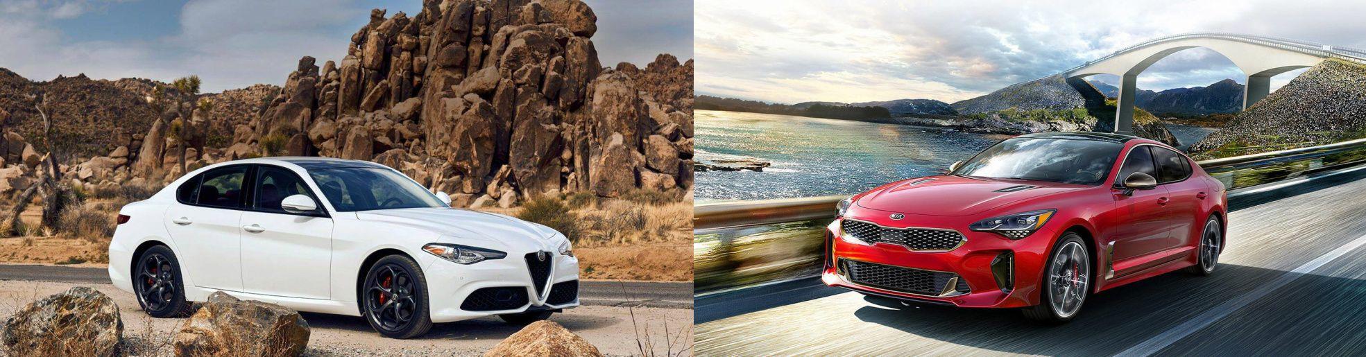 See How The Alfa Romeo Giulia Compares To The Kia Stinger In This Head To Head Look Kia Stinger Alfa Romeo Giulia Kia
