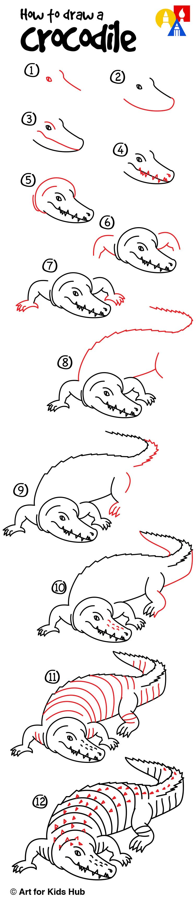 How to draw a realistic crocodile art for kids hub for Easy to draw crocodile