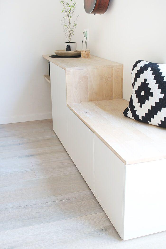 Sideboard Weiß Holzplatte
