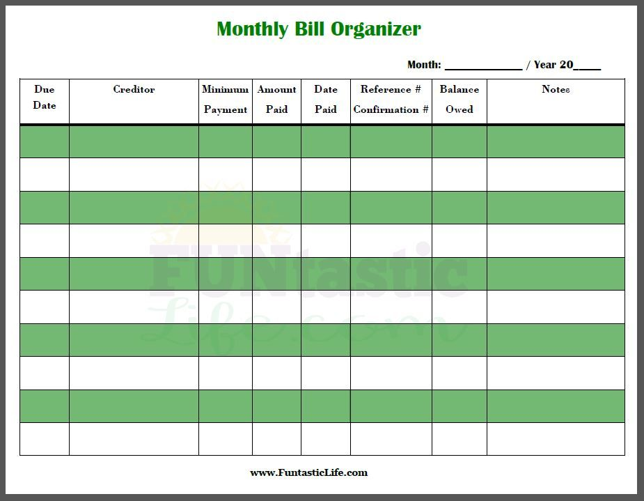 Free Printable Monthly Bill Organizer  Free Printable Planners And