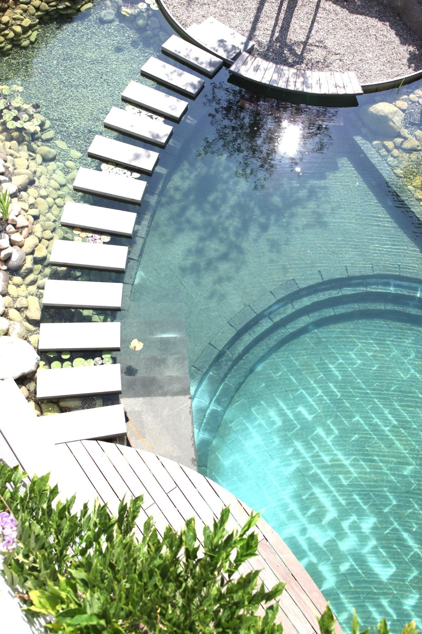 moderner schwimmteich mit brücke. #minimalistisch #swimming #pool