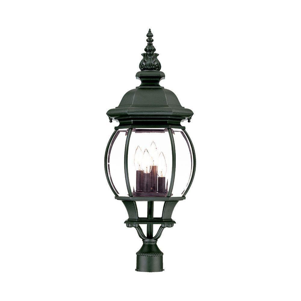 chateau 4 light matte black outdoor post mount light fixture matte rh pinterest com