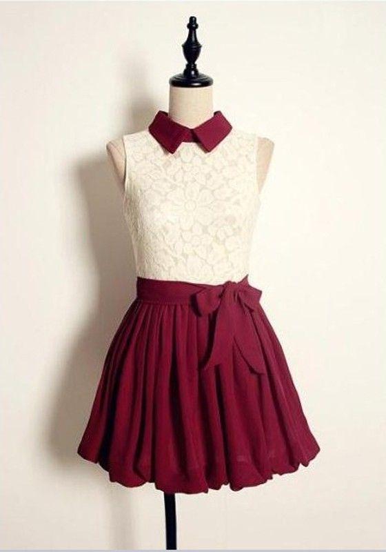 664fb02e87c0 Red Patchwork Lace Bow Ruffle Loose Chiffon Mini Dress - Mini Dresses - Dresses  Maroon Dress
