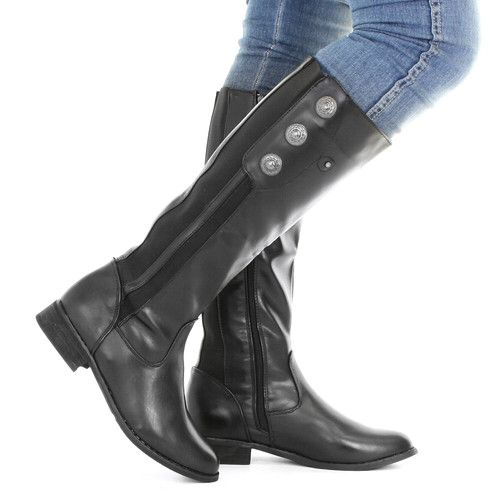 2bbadea3b24 Womens Black Leather Style Wide Calf Fit Button Ladies Knee High Boots Size  3 8