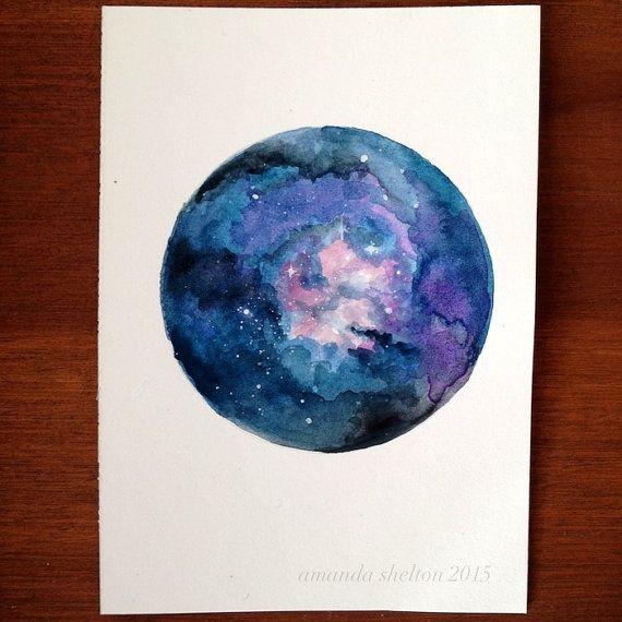 tiny galaxy illustration in watercolor and by amandasheltonart