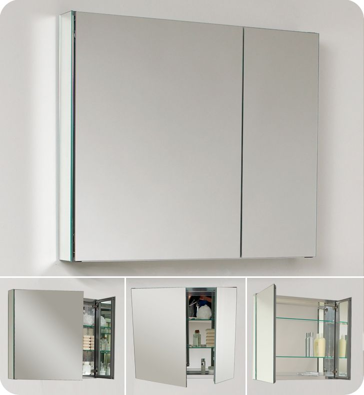 Bathroom Vanities And Medicine Cabinets fresca 30 wide bathroom medicine cabinet w/ mirrors [fmc8090