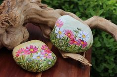 Really beautiful flowers painted on stone!!