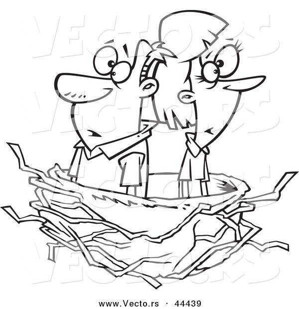 Vector Of A Middle Aged Cartoon Couple In An Empty Nest Coloring