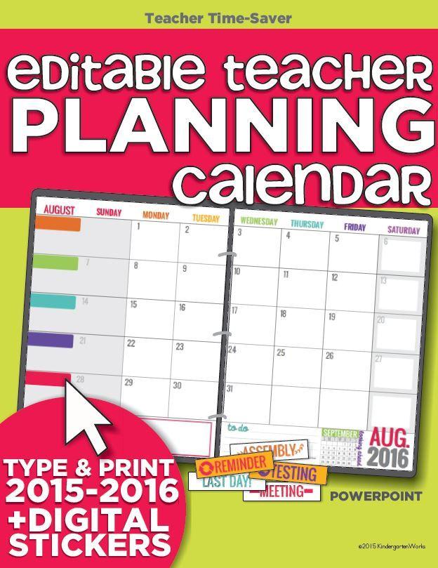 Kindergarten Calendar Powerpoint : Teacher organization must have printables
