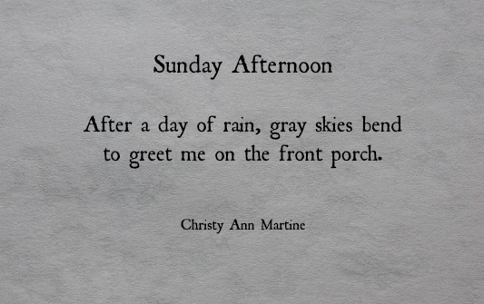 Haiku short poem imagery - Sunday Afternoon poems thoughts