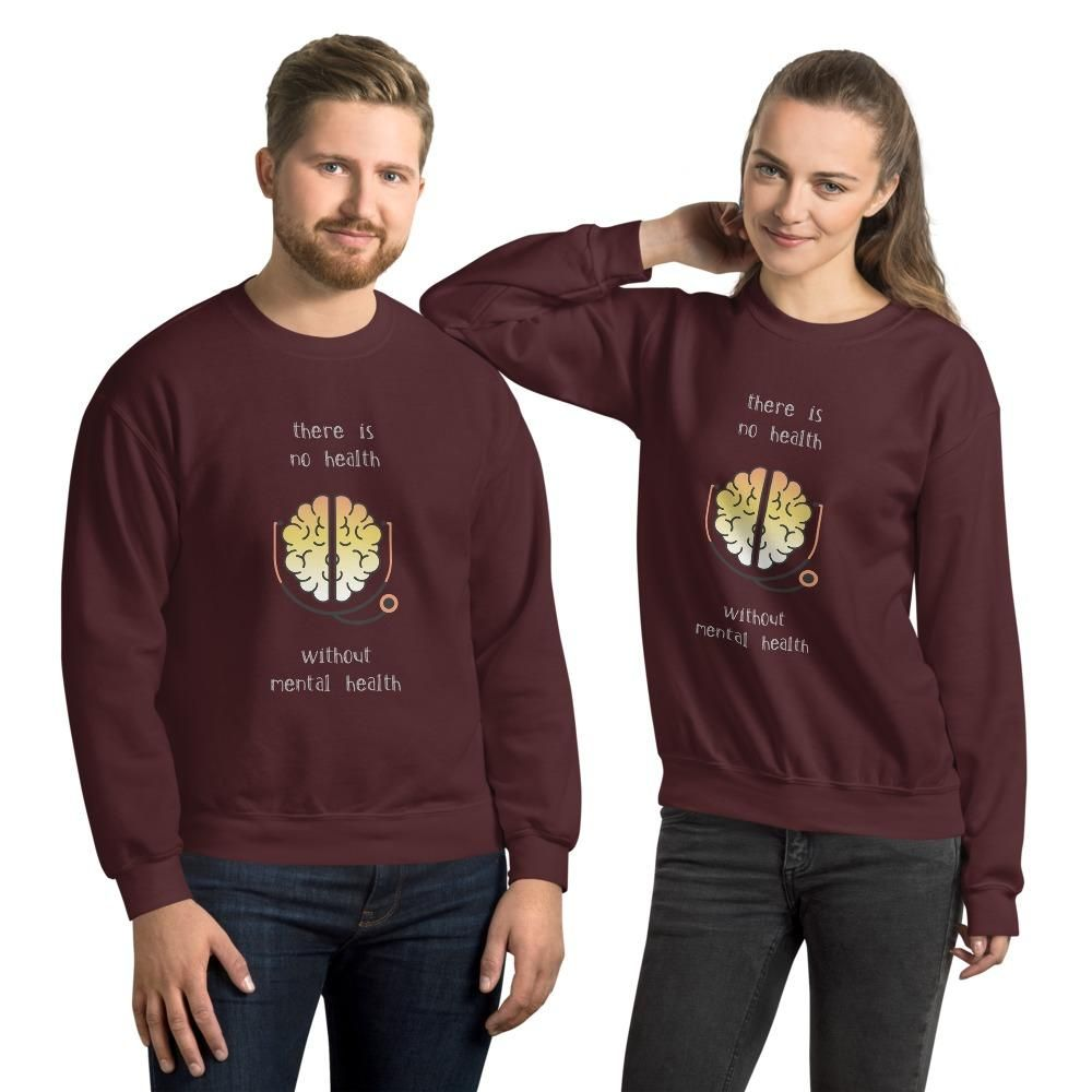 There Is No Health Without Mental Health Unisex Heavy-Blend Sweatshirt - Gildan 18000 - Maroon / L