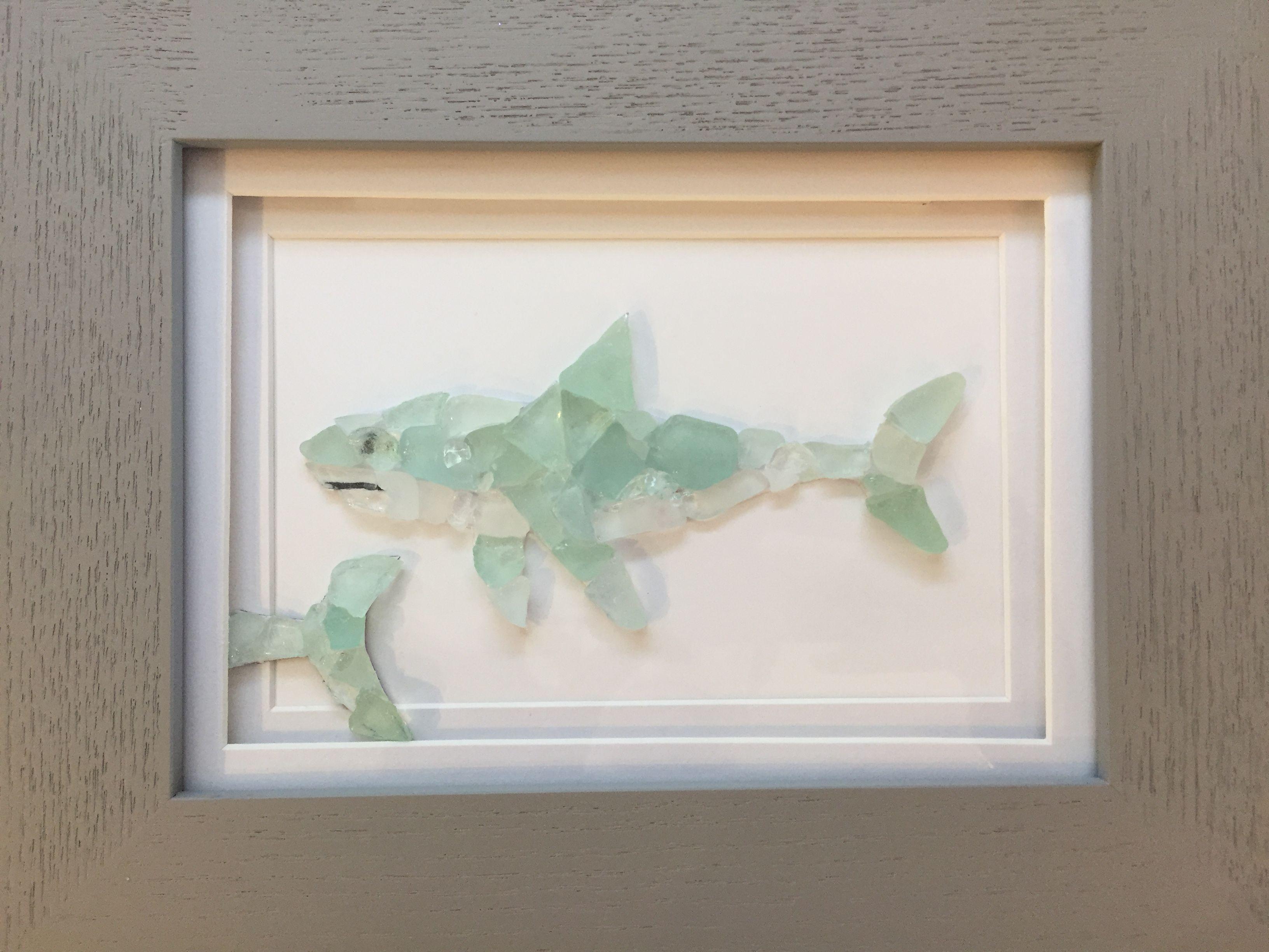 Shark made with natural sea glass. Framed wall art | Wall art ...