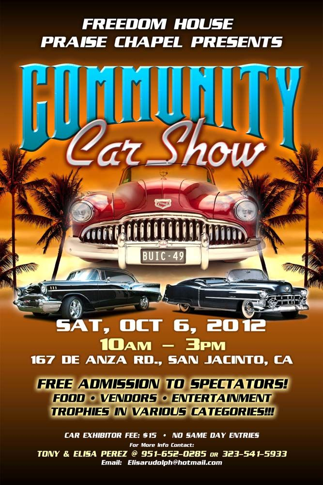 Freedom House Car Show Poster Car Show Vintage Car Garage