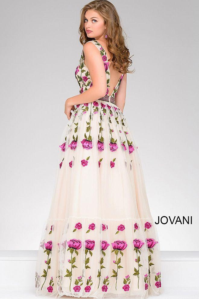 Multi Low V Neck Spaghetti Straps Sequin Jovani Dress