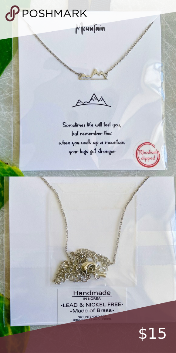 Photo of Dainty Rhodium Dipped Mountain Necklace Beautiful short necklace with mountain r…