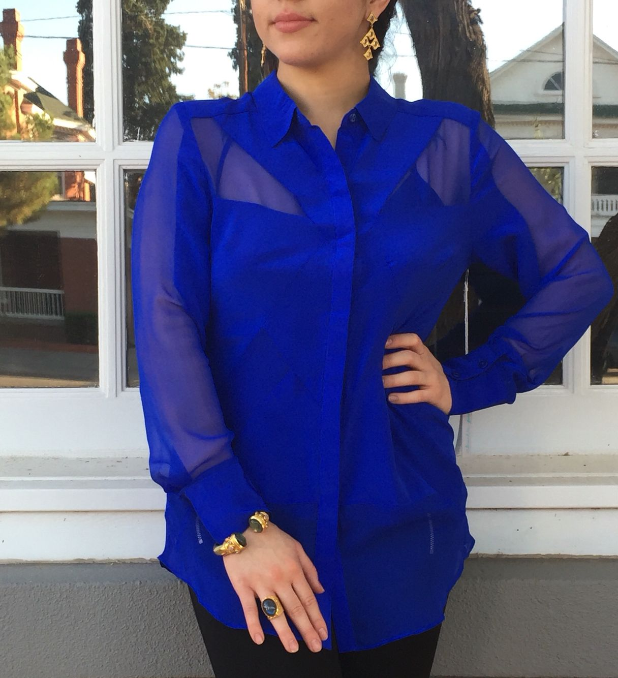 Royal blue top with Julie Voss jewelry