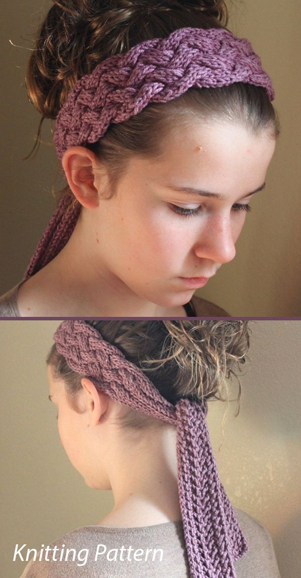 Knitting Pattern for Marbella Cabled Head Wrap Scarf Headband