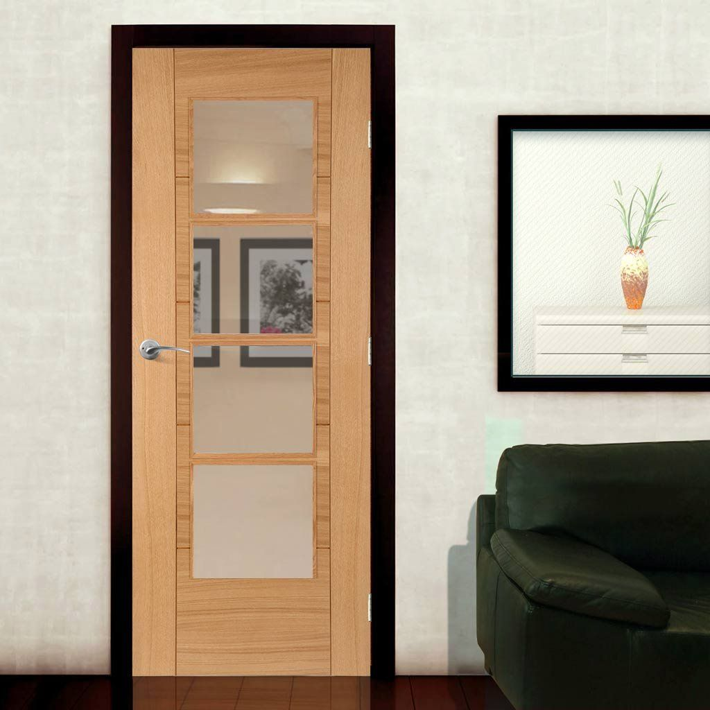 Iseo Oak Central 4 Light Veneer Fire Door With Clear Glass Is Pre Finished And 1 2 Hour Fire Rated Fire Doors Internal Oak Doors Internal Doors