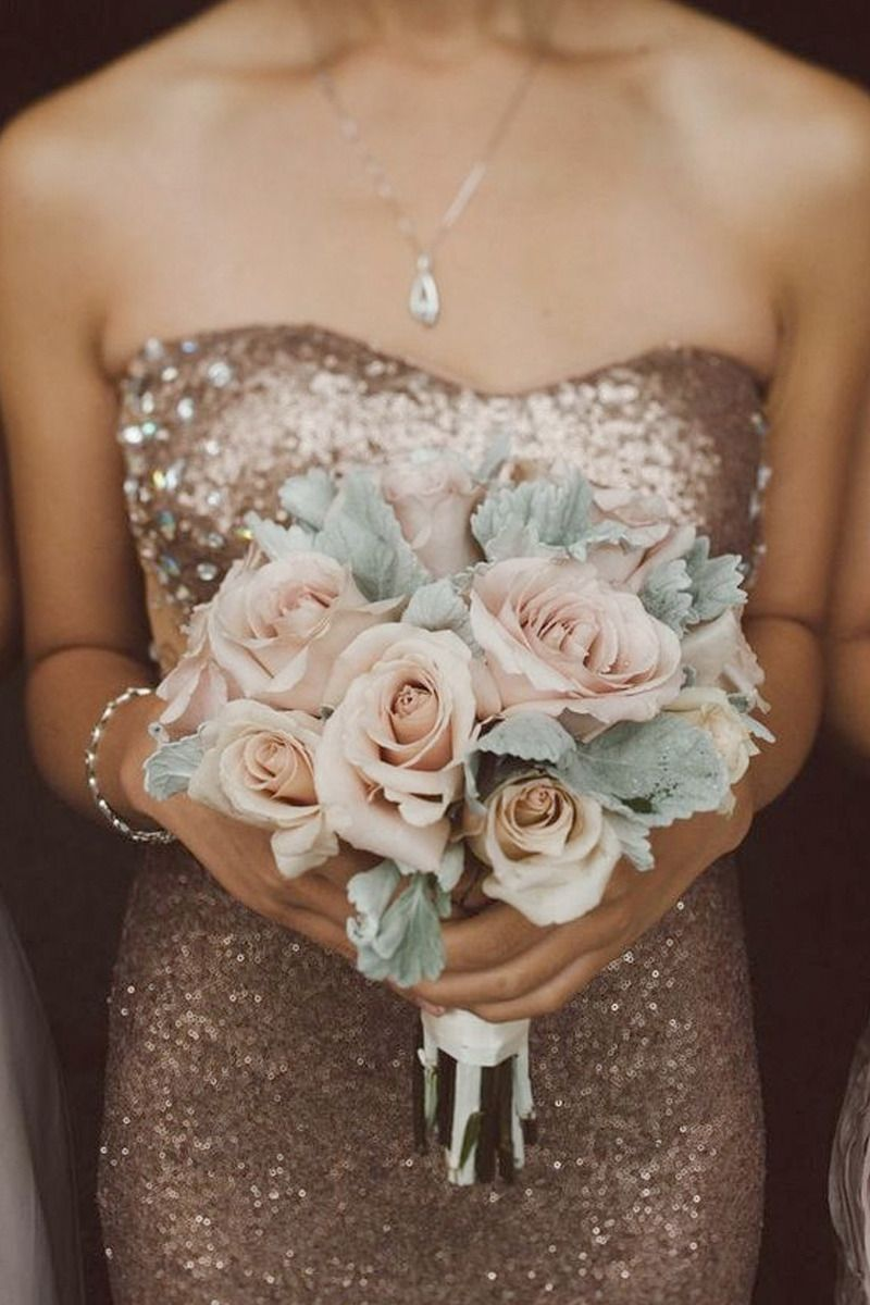 Sequined bridesmaids dress with blush rose and lambs ear