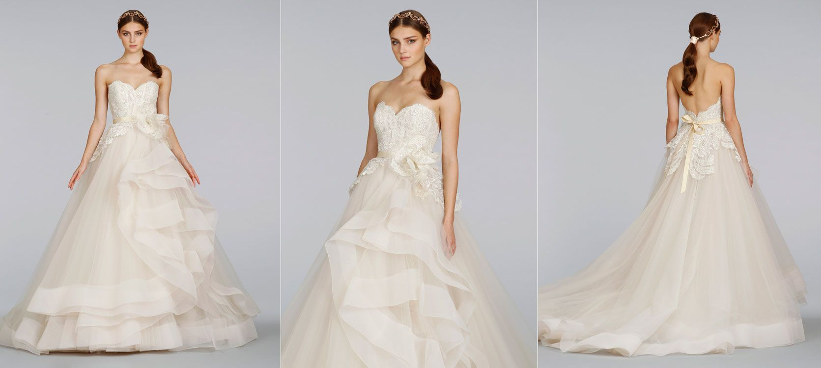 Champagne Tulle Bridal Ball Gown, Sweetheart