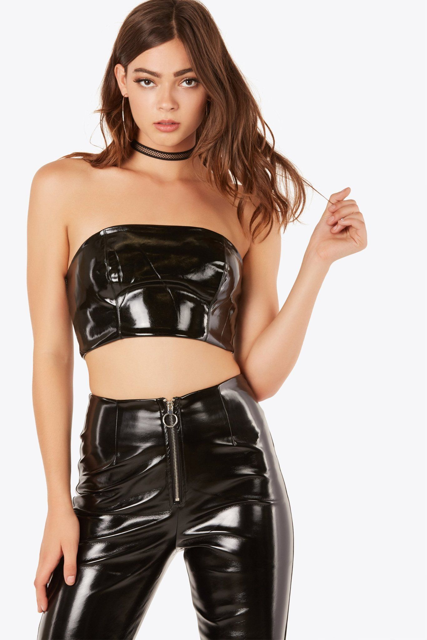 sexy faux leather tube top with back zip closure. smooth lining and