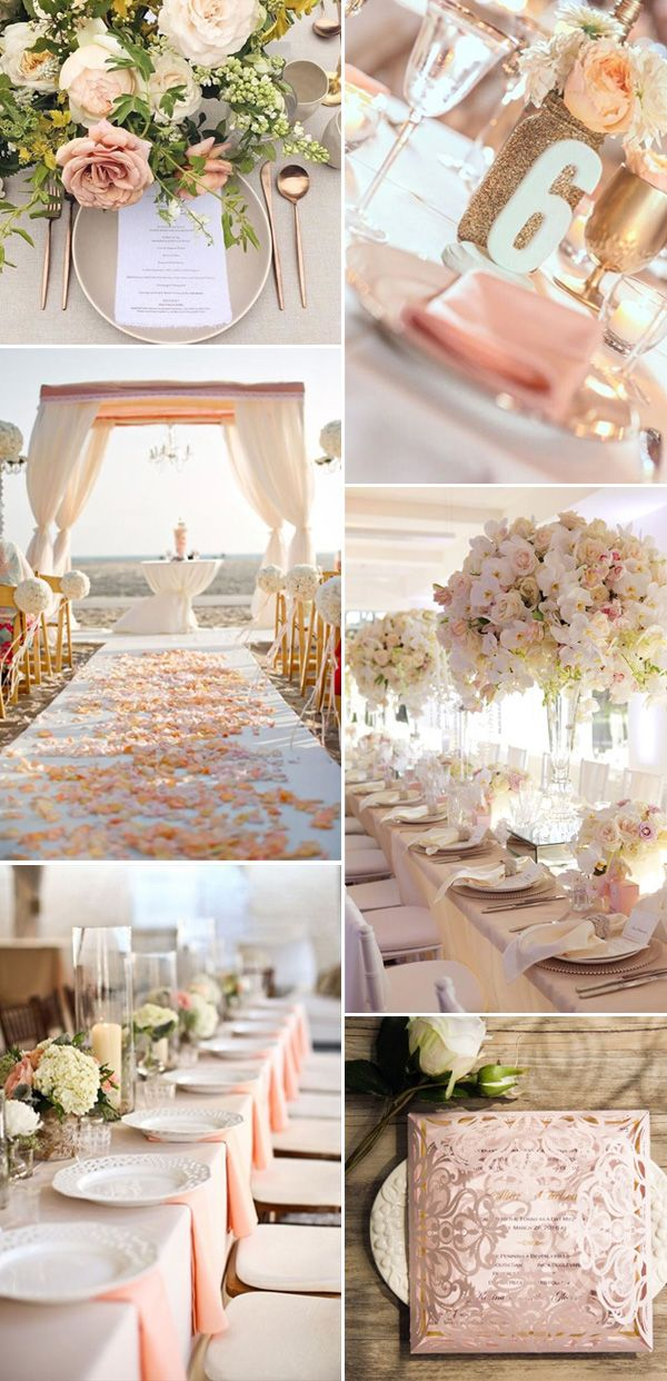 Romantic blush pink laser cut gold foil stamped wedding neutral peach wedding color ideas for 2017 junglespirit Gallery