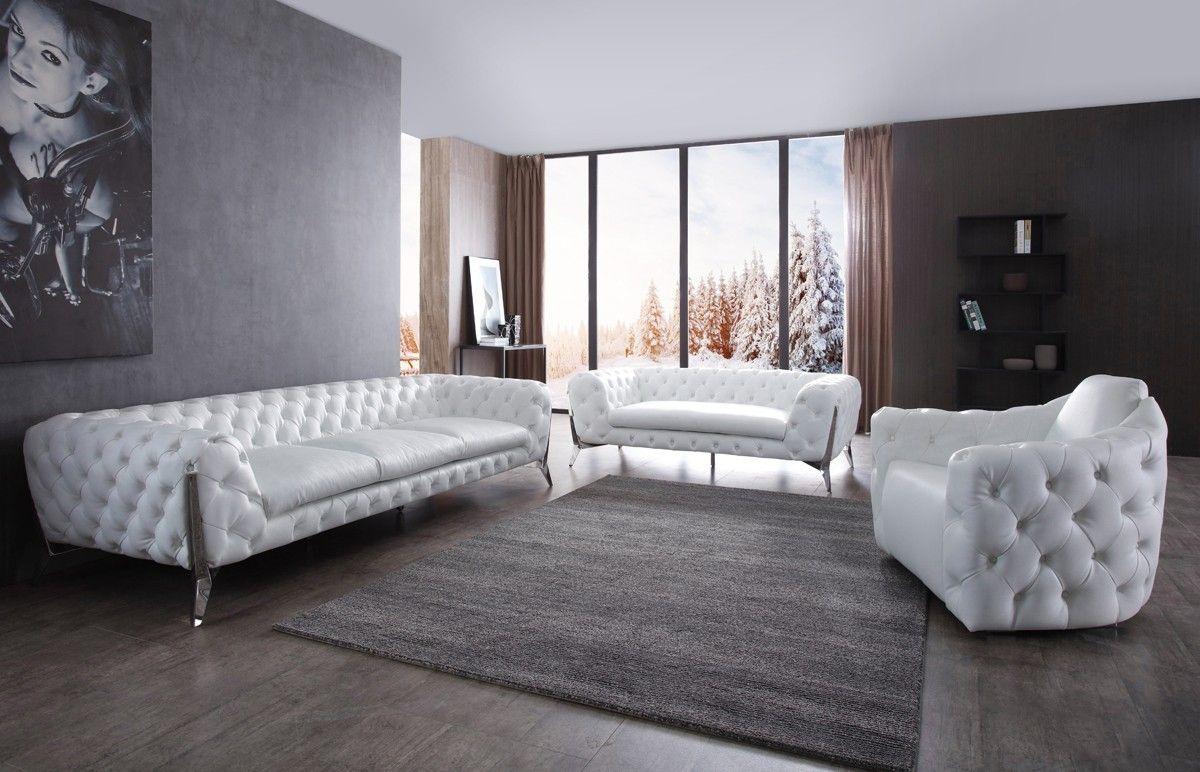 Divani casa catania transitional white leatherette u stainless steel