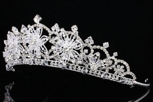 Details about Bridal Snowflake Rhinestone Crystal Prom Wedding Crown Tiara 7914 #crowntiara