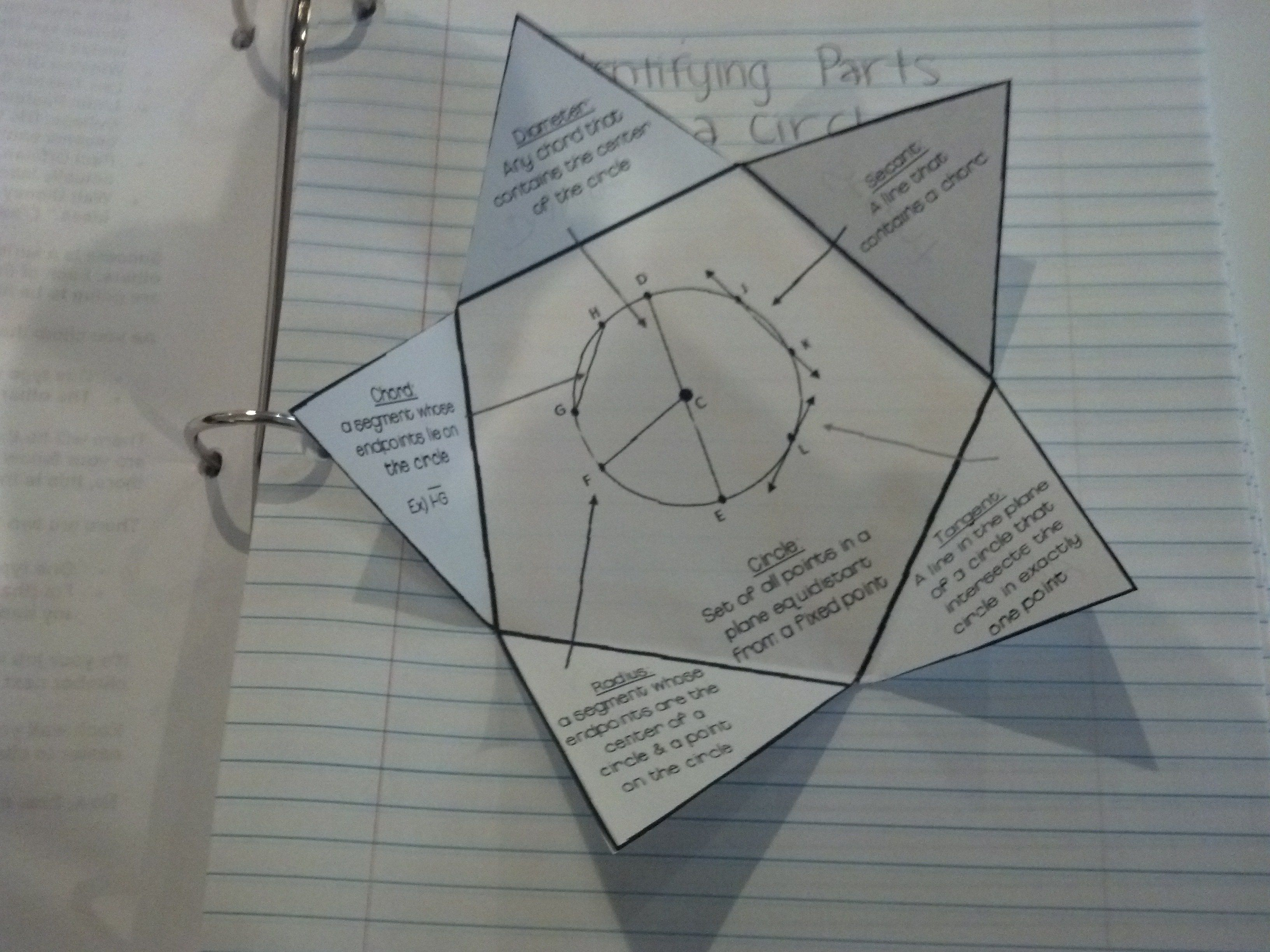 Identifying Parts Of A Circle Secant Tangent Chord Task