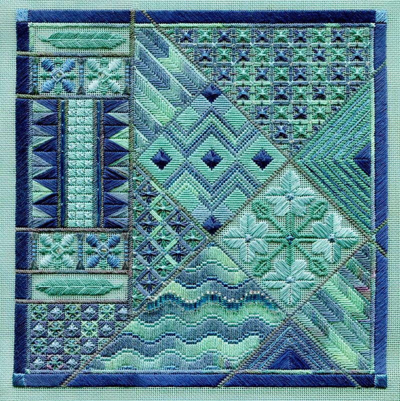 I sooo want to stitch this.  Love the colors!