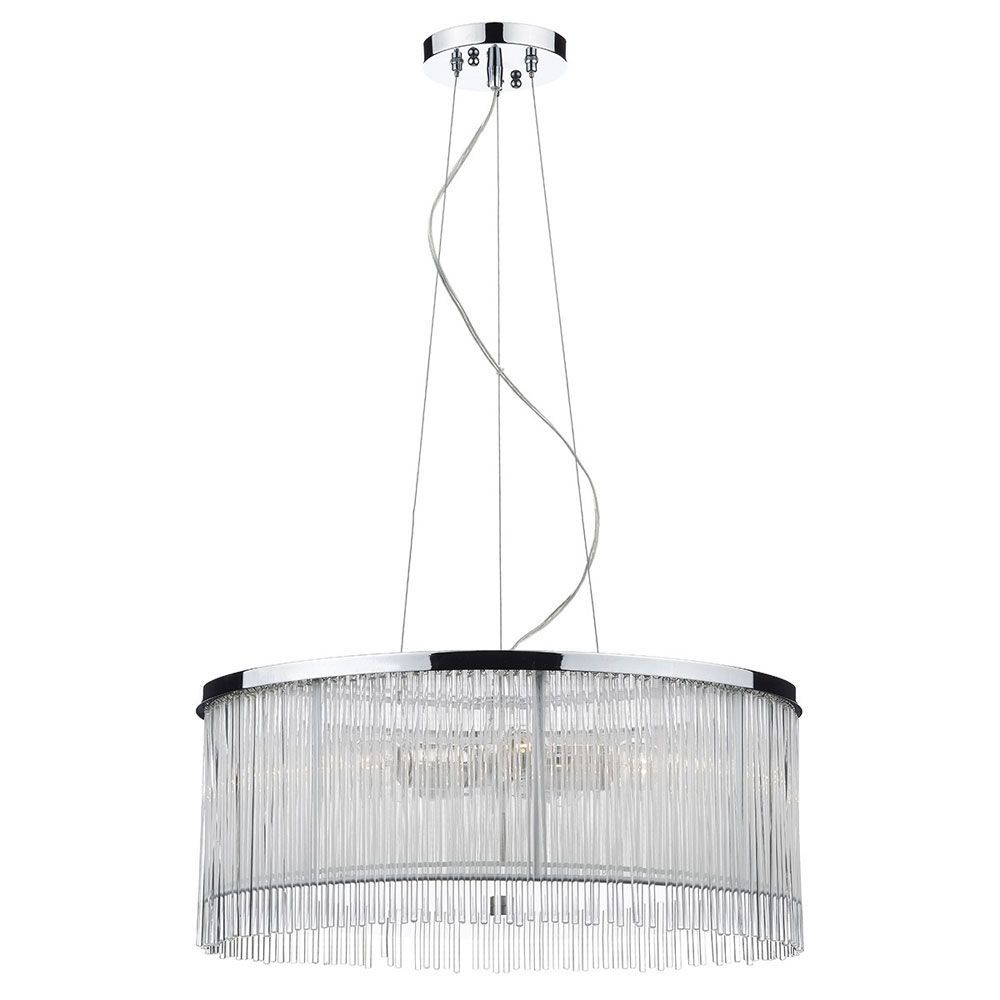 The Japan Triple Light Pendant has a polished chrome ceiling plate and frame and is finished with a decorative curtain of clear glass rods around an inner white string shade. Dar