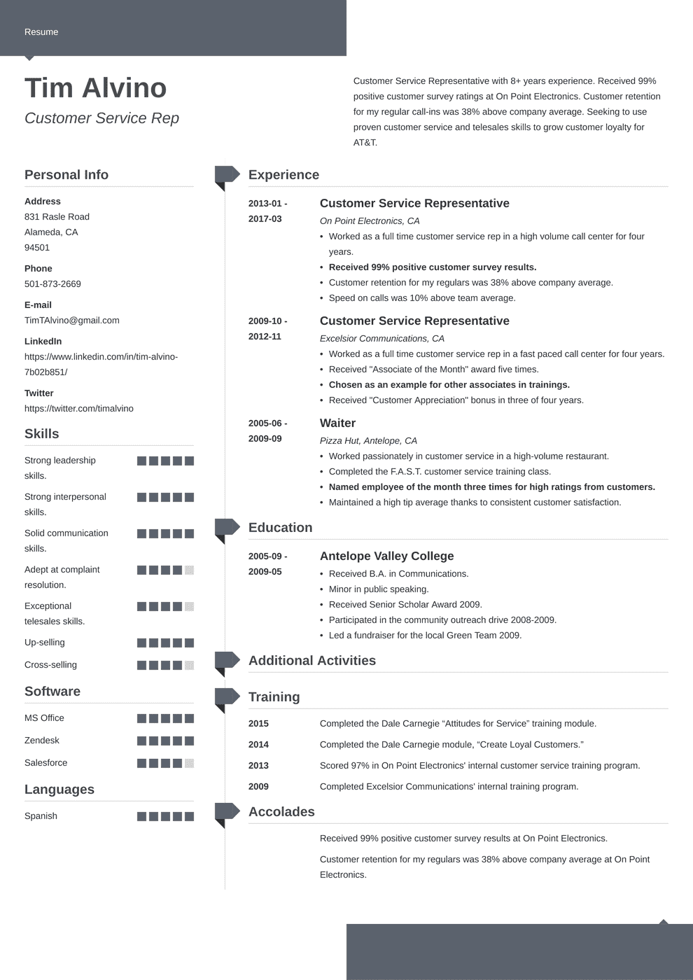 customer service resume template modern in 2020 Job