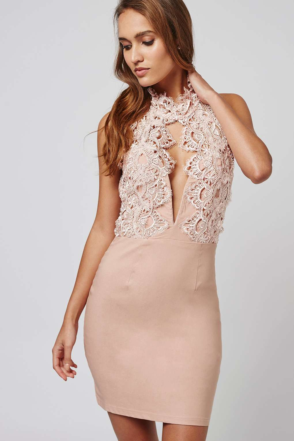 d8d3ad23a07a High Neck Lace Plunge Mini Dress by Rare | spring/summer '16 ...