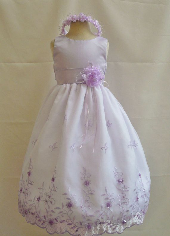 4f58ce7486b Flower Girl Dress LILAC 072 Wedding Children Easter Bridesmaid Communion  Toddler White Red Purple Pink Light Lilac Burgundy Blue Sky on Etsy