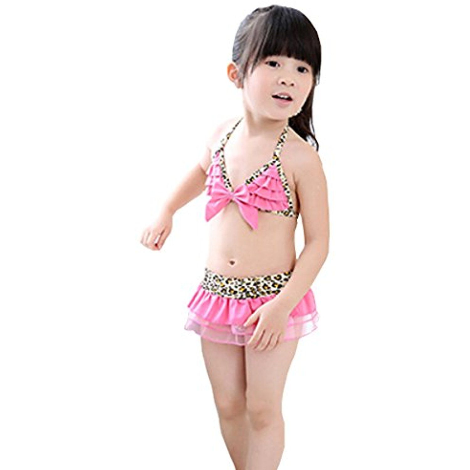 41cb3d13c2 Leopard Style Little Girls Swimsuit Kids Two-pieces Bikini Swimwear 5T Pink     Check out this great product. (This is an affiliate link)  Swimwear