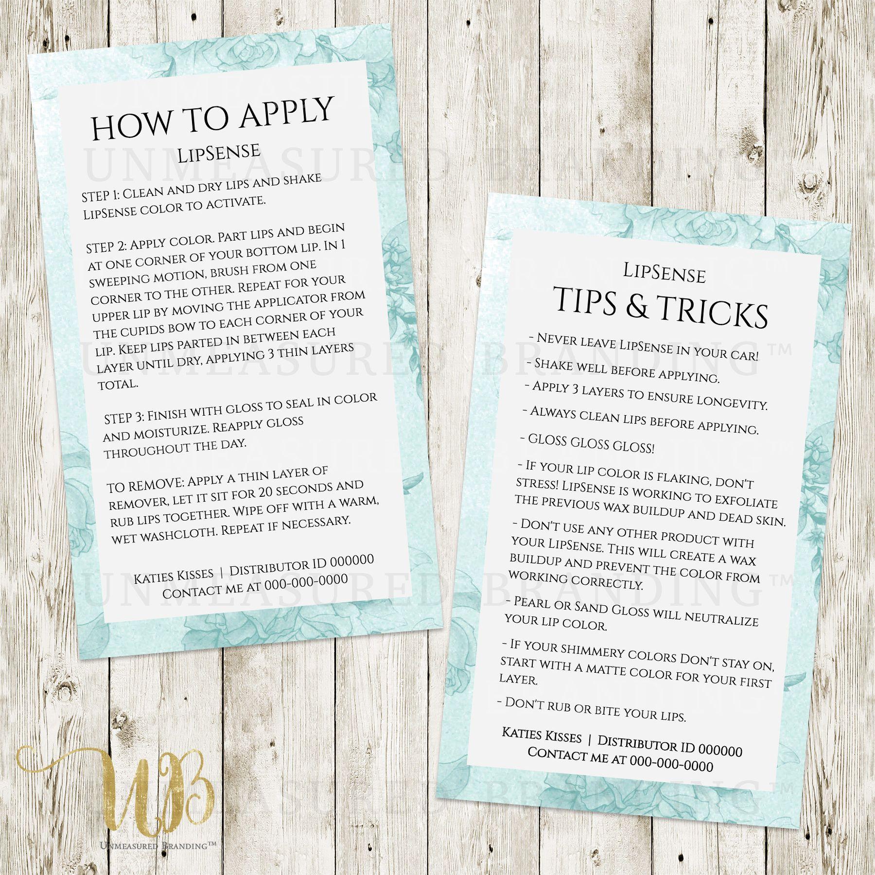 lipsense tips and tricks template editable printable senegence