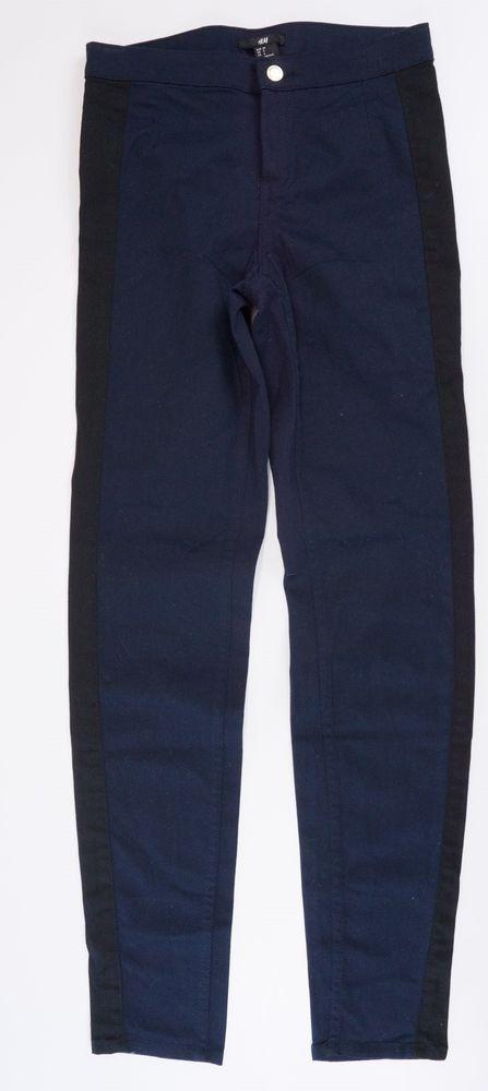 8e02039fd8 H&M Navy Blue Jeggings Size 4 Black side stripes pants New #HM #Jeggins