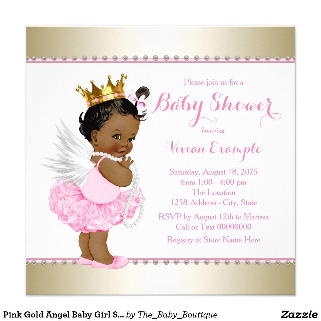 Pink Gold Angel Baby Girl Shower Invitation | Pinterest | Baby girl ...