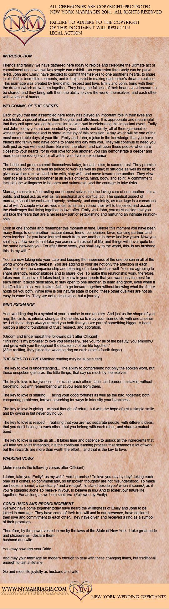 Secular Wedding Ceremony Script