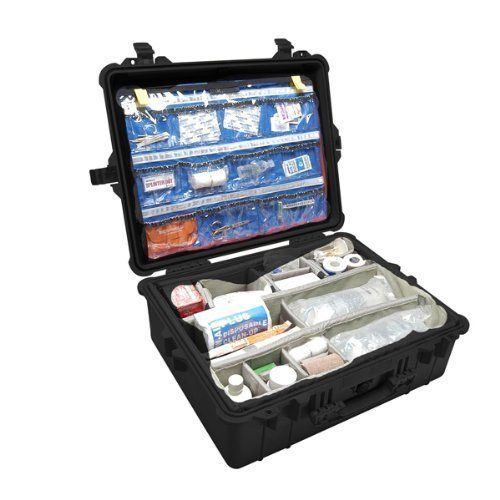 Pelican 1600 005 110 1600ems Medical Case With Lid Organizer Dividers Black Pelican Medical Equipment Medical Medical Kit