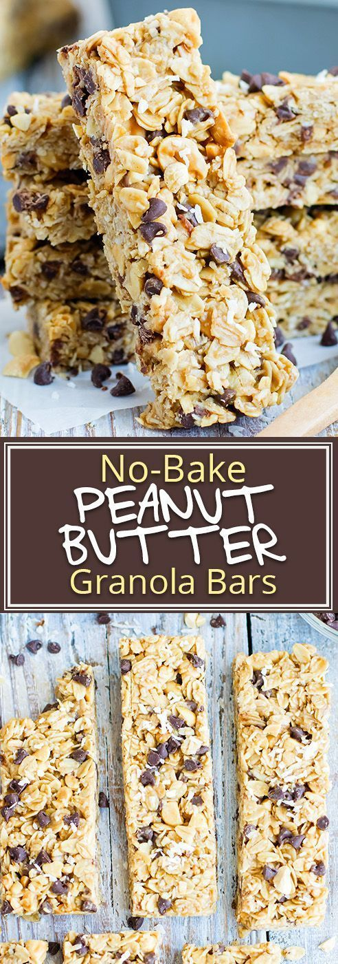 No-Bake Peanut Butter Granola Bars with Chocolate Chips